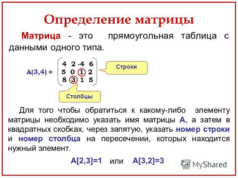 Определение матрицы Матрица - это прямоугольная таблица с данными одного типа. Строки Столбцы 4 2 -4 6 A(3,4) = 5 0 1 2 8 3 1 5 Для того чтобы обратиться к какому-либо элементу матрицы необходимо указать имя матрицы A, а затем в квадратных скобках, ч