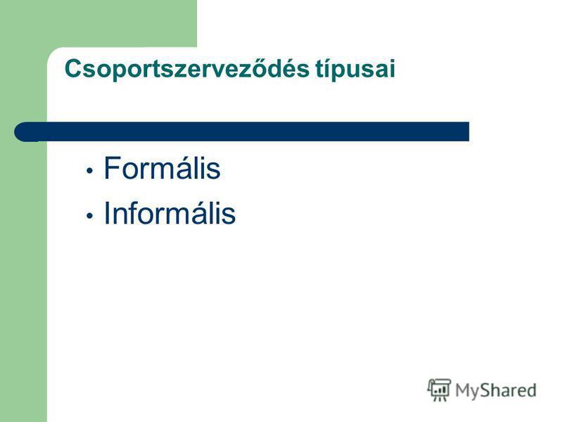 Csoportszerveződés típusai Formális Informális