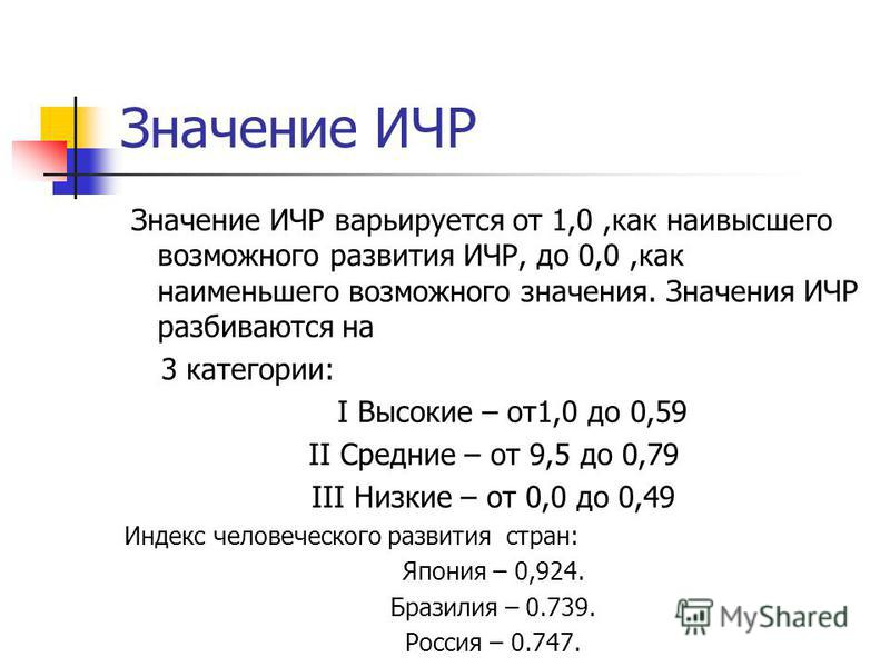 Значение ИЧР Значение ИЧР варьируется от 1,0,как наивысшего возможного развития ИЧР, до 0,0,как наименьшего возможного значения. Значения ИЧР разбиваются на 3 категории: I Высокие – от 1,0 до 0,59 II Cредние – от 9,5 до 0,79 III Низкие – от 0,0 до 0,