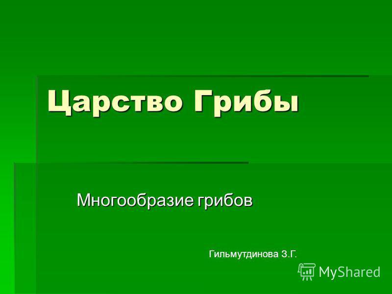 Царство Грибы Многообразие грибов Гильмутдинова З.Г.
