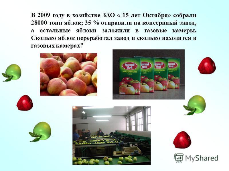 В 2009 году в хозяйстве ЗАО « 15 лет Октября» собрали 28000 тонн яблок; 35 % отправили на консервный завод, а остальные яблоки заложили в газовые камеры. Сколько яблок переработал завод и сколько находится в газовых камерах?