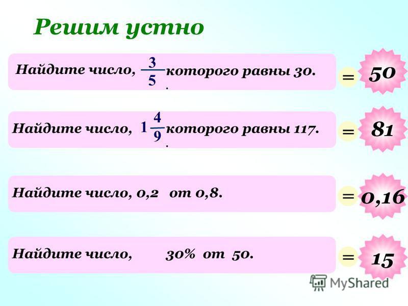 3 5 Найдите число, которого равны 30.. Решим устно = 50 4 9 Найдите число,которого равны 117.. 1 = 81 Найдите число, 0,2 от 0,8. = 0,16 Найдите число,30% от 50. = 15