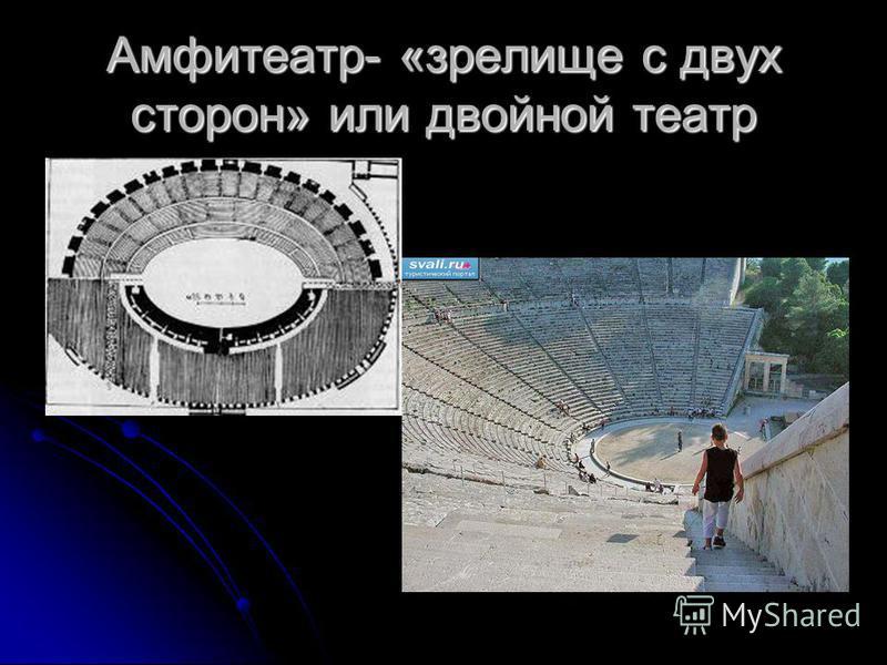 Амфитеатр- «зрелище с двух сторон» или двойной театр