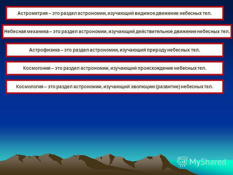 Астрометрия – это раздел астрономии, изучающий видимое движение небесных тел. Небесная механика – это раздел астрономии, изучающий действительное движение небесных тел. Астрофизика – это раздел астрономии, изучающий природу небесных тел. Космогония –