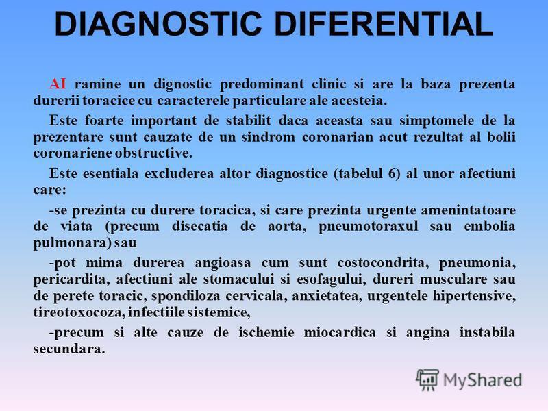 DIAGNOSTIC DIFERENTIAL AI ramine un dignostic predominant clinic si are la baza prezenta durerii toracice cu caracterele particulare ale acesteia. Este foarte important de stabilit daca aceasta sau simptomele de la prezentare sunt cauzate de un sindr