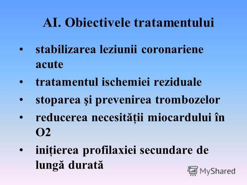 AI. Obiectivele tratamentului stabilizarea leziunii coronariene acute tratamentul ischemiei reziduale stoparea şi prevenirea trombozelor reducerea necesităţii miocardului în O2 iniţierea profilaxiei secundare de lungă durată