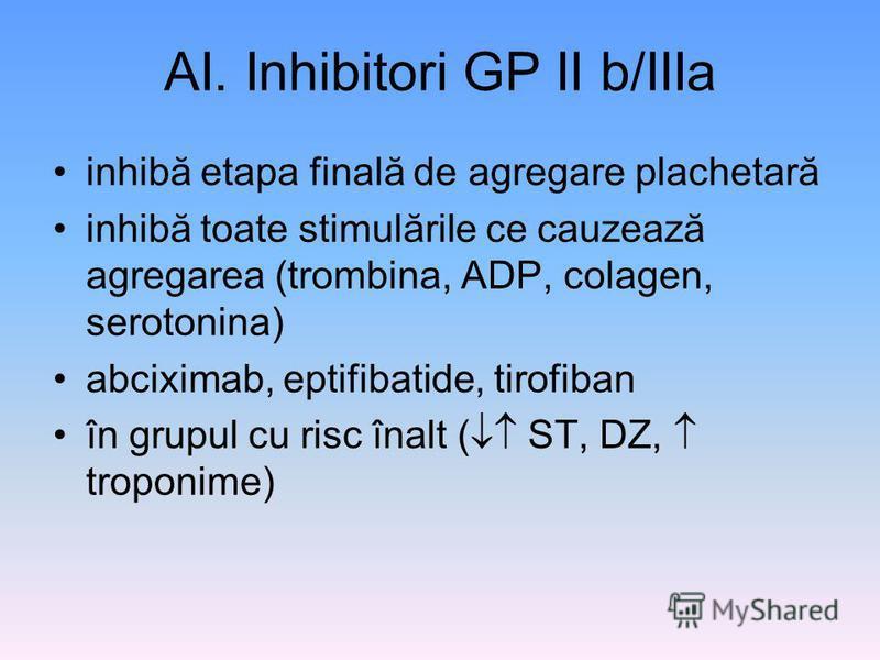 AI. Inhibitori GP II b/IIIa inhibă etapa finală de agregare plachetară inhibă toate stimulările ce cauzează agregarea (trombina, ADP, colagen, serotonina) abciximab, eptifibatide, tirofiban în grupul cu risc înalt ( ST, DZ, troponime)