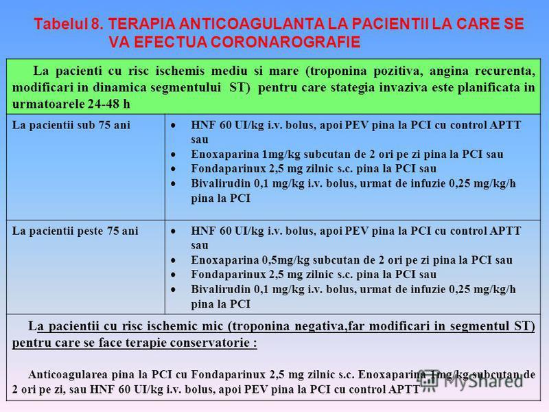 Tabelul 8. TERAPIA ANTICOAGULANTA LA PACIENTII LA CARE SE VA EFECTUA CORONAROGRAFIE La pacienti cu risc ischemis mediu si mare (troponina pozitiva, angina recurenta, modificari in dinamica segmentului ST) pentru care stategia invaziva este planificat