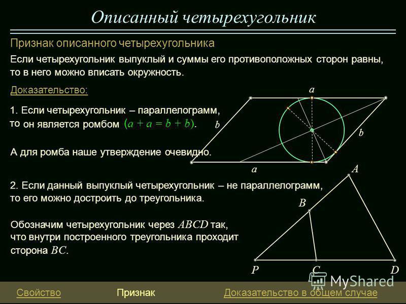 Описанный четырехугольник Признак описанного четырехугольника Если четырехугольник выпуклый и суммы его противоположных сторон равны, то в него можно вписать окружность. 1. Если четырехугольник – параллелограмм, то Доказательство: он является ромбом