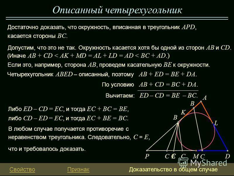 что и требовалось доказать. Описанный четырехугольник Либо ED – CD = EС, и тогда EC + BC = BE, Свойство ПризнакДоказательство в общем случае По условию AB + CD = BС + DA. Окружность касается хотя бы одной из сторон AB и CD. Четырехугольник ABED – опи