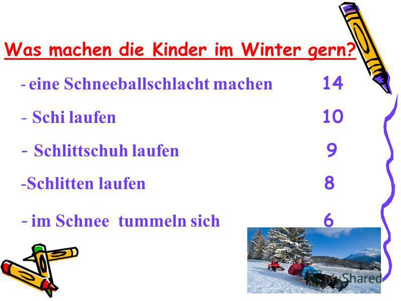 Was machen die Kinder im Winter gern? - Schi laufen 10 - Schlittschuh laufen 9 -Schlitten laufen 8 - eine Schneeballschlacht machen 14 - im Schnee tummeln sich 6