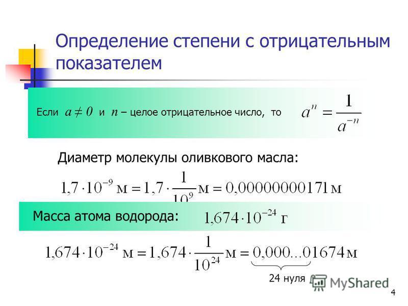 Определение степени с отрицательным показателем Если а 0 и n – целое отрицательное число, то Диаметр молекулы оливкового масла: Масса атома водорода: 24 нуля 4