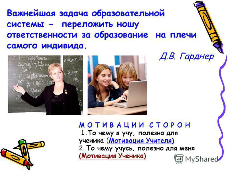 Важнейшая задача образовательной системы - переложить ношу ответственности за образование на плечи самого индивида. Д.В. Гарднер М О Т И В А Ц И И С Т О Р О Н 1. То чему я учу, полезно для ученика (Мотивация Учителя) 2. То чему учусь, полезно для мен