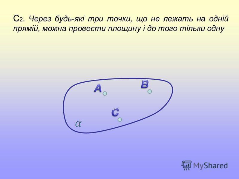 C 2. Через будь-які три точки, що не лежать на одній прямій, можна провести площину і до того тільки одну
