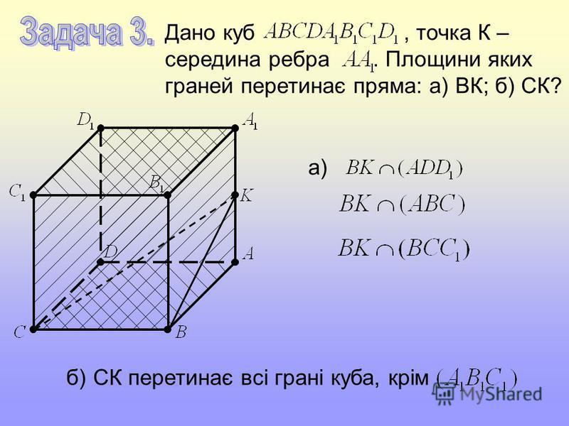 Дано куб, точка К – середина ребра. Площини яких граней перетинає пряма: а) ВК; б) СК? а) б)СК перетинає всі грані куба, крім