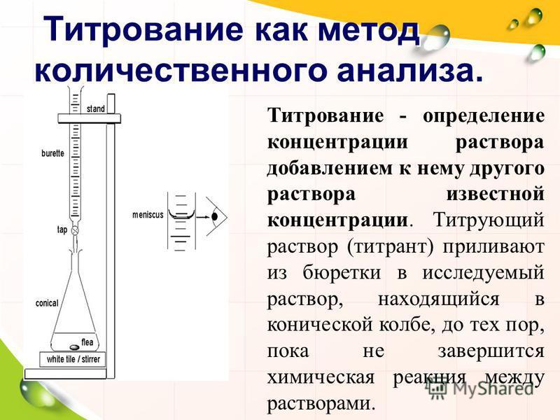 Титрование как метод количественного анализа. Титрование - определение концентрации раствора добавлением к нему другого раствора известной концентрации. Титрующий раствор (титрант) приливают из бюретки в исследуемый раствор, находящийся в конической