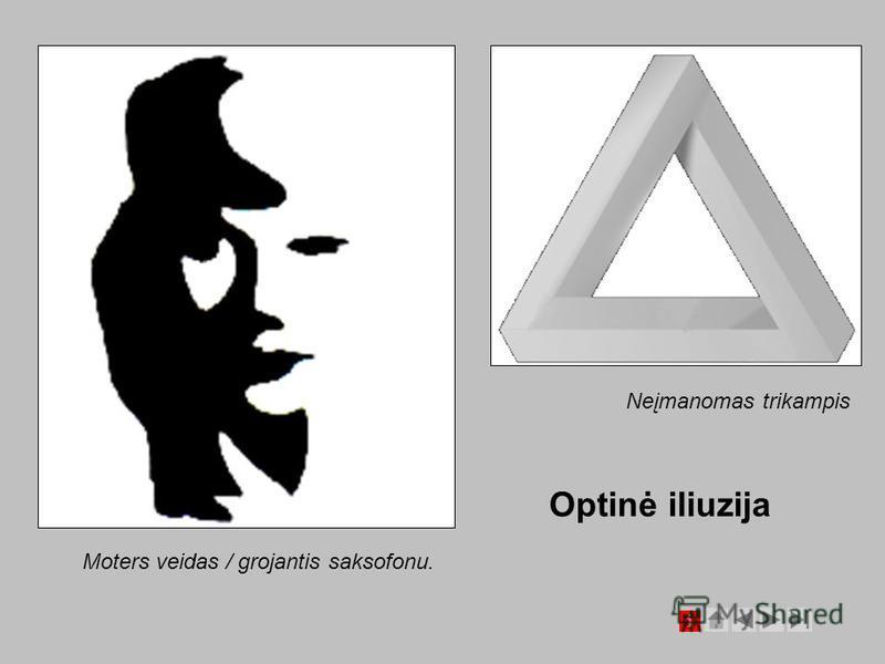Optinė iliuzija Neįmanomas trikampis Moters veidas / grojantis saksofonu.