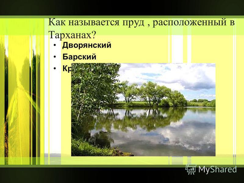 Как называется пруд, расположенный в Тарханах? Дворянский Барский Крестьянский