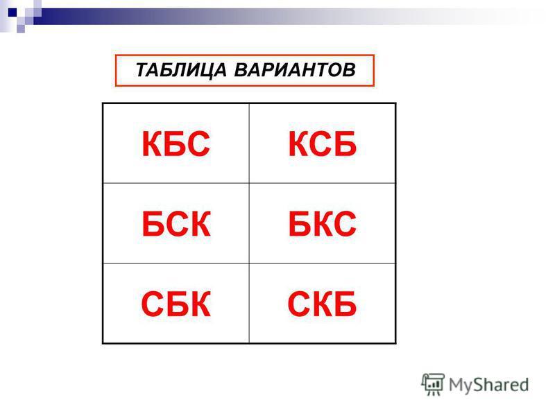 КБСКСБ БСКБКС СБКСКБ ТАБЛИЦА ВАРИАНТОВ