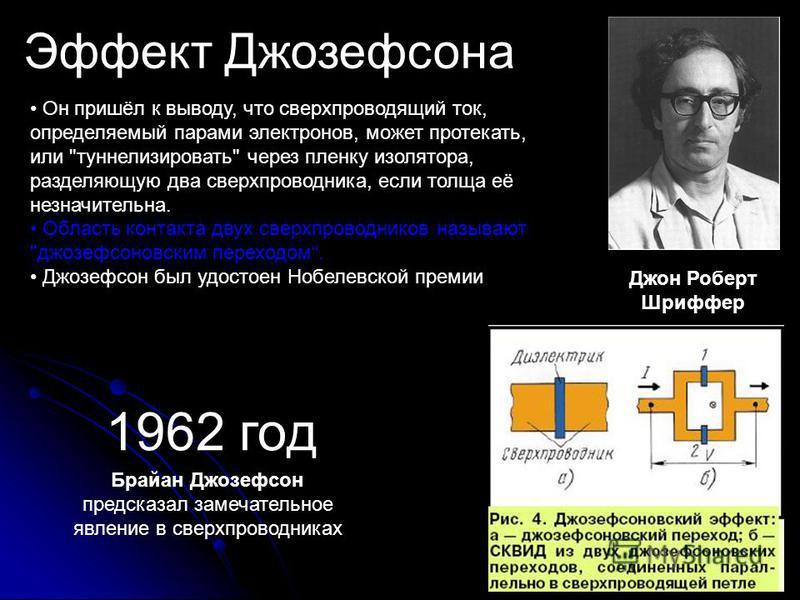 Эффект Джозефсона Он пришёл к выводу, что сверхпроводящий ток, определяемый парами электронов, может протекать, или