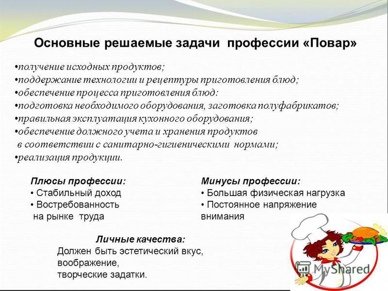 Основные решаемые задачи профессии «Повар» получение исходных продуктов; поддержание технологии и рецептуры приготовления блюд; обеспечение процесса приготовления блюд: подготовка необходимого оборудования, заготовка полуфабрикатов; правильная эксплу