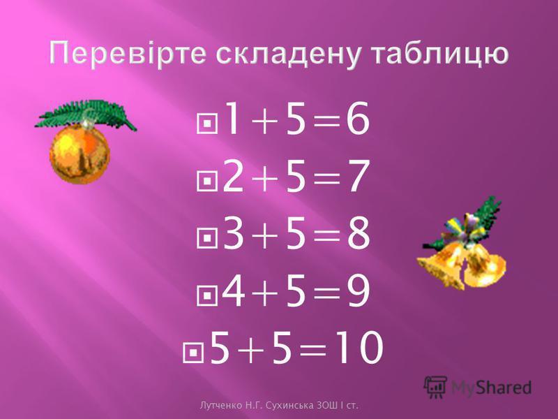 Лутченко Н.Г. Сухинська ЗОШ І ст. 5+5= 1089