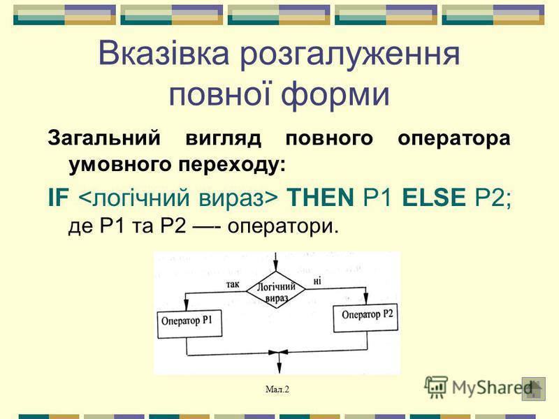 Вказівка розгалуження повної форми Загальний вигляд повного оператора умовного переходу: IF THEN P1 ELSE P2; де P1 та P2 - оператори. Мал.2