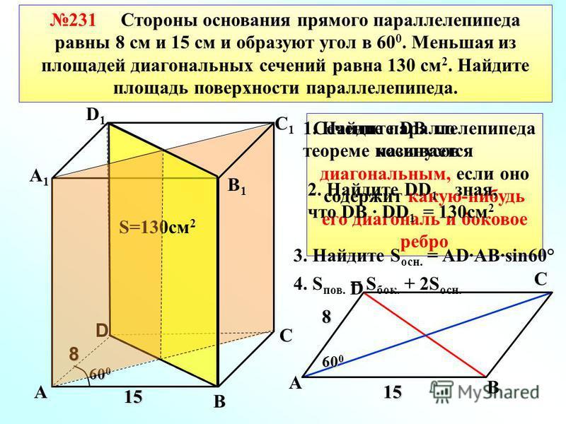 231 Стороны основания прямого параллелепипеда равны 8 см и 15 см и образуют угол в 60 0. Меньшая из площадей диагональных сечений равна 130 см 2. Найдите площадь поверхности параллелепипеда. В С А1А1 D1D1 С1С1 В1В1 D 8 15 60 0 S=130 см 2 А А 8 15 60