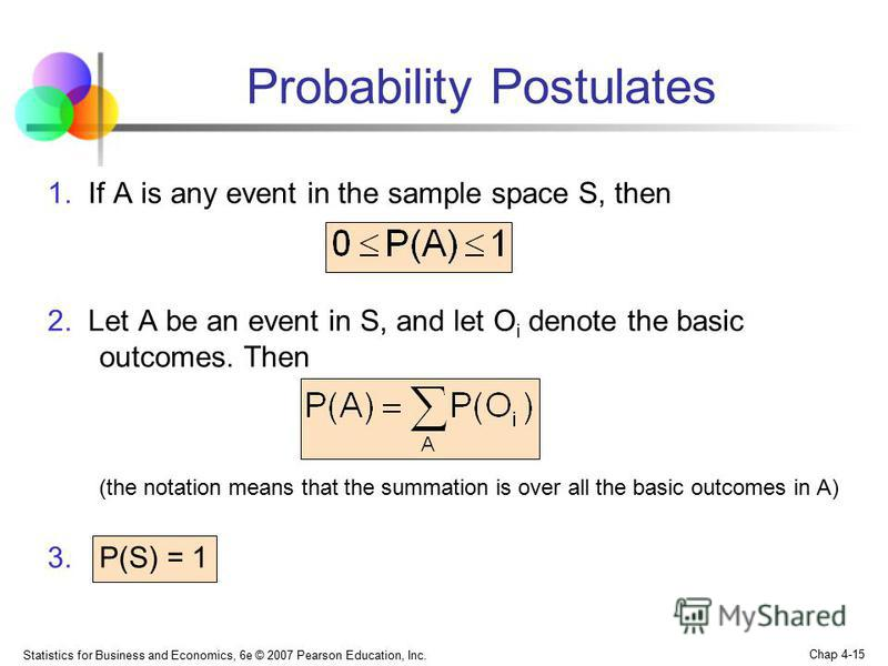 Statistics for Business and Economics, 6e © 2007 Pearson Education, Inc. Chap 4-15 Probability Postulates 1. If A is any event in the sample space S, then 2. Let A be an event in S, and let O i denote the basic outcomes. Then (the notation means that