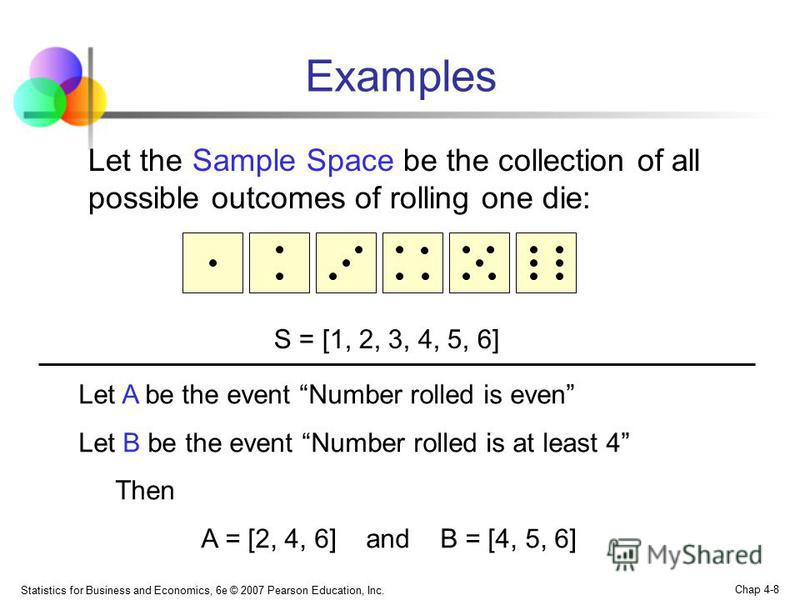 Statistics for Business and Economics, 6e © 2007 Pearson Education, Inc. Chap 4-8 Examples Let the Sample Space be the collection of all possible outcomes of rolling one die: S = [1, 2, 3, 4, 5, 6] Let A be the event Number rolled is even Let B be th