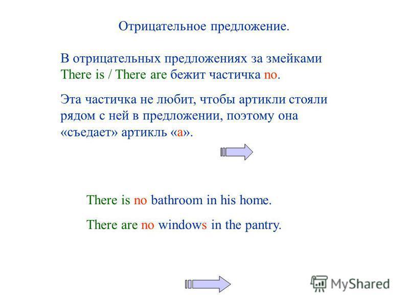 Отрицательное предложение. В отрицательных предложениях за змейками There is / There are бежит частичка no. Эта частичка не любит, чтобы артикли стояли рядом с ней в предложении, поэтому она «съедает» артикль «a». There is no bathroom in his home. Th