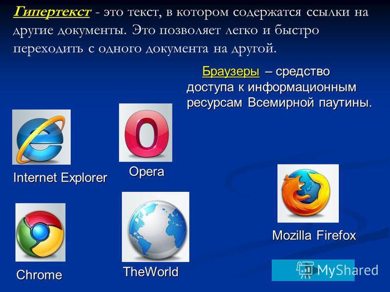Браузеры – средство доступа к информационным ресурсам Всемирной паутины. Mozilla Firefox Internet Explorer Opera Chrome TheWorld Гипертекст - это текст, в котором содержатся ссылки на другие документы. Это позволяет легко и быстро переходить с одного