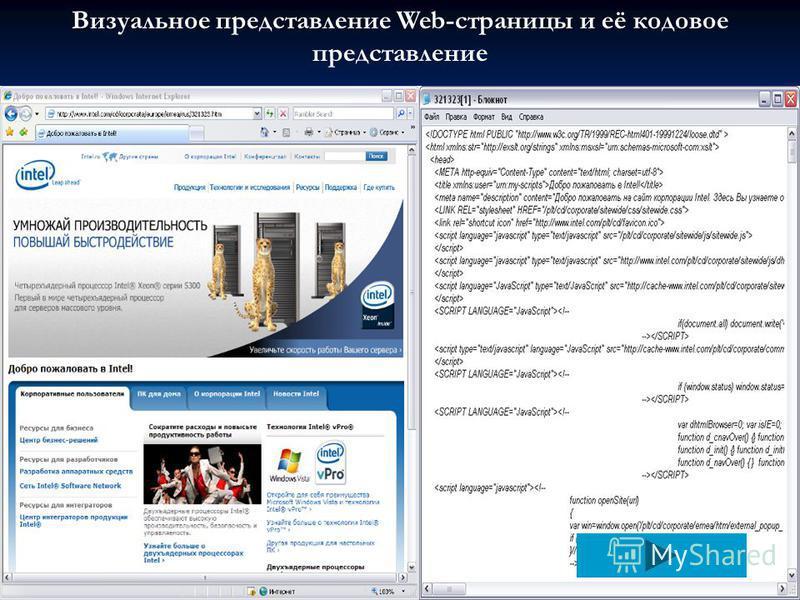 Визуальное представление Web-страницы и её кодовое представление