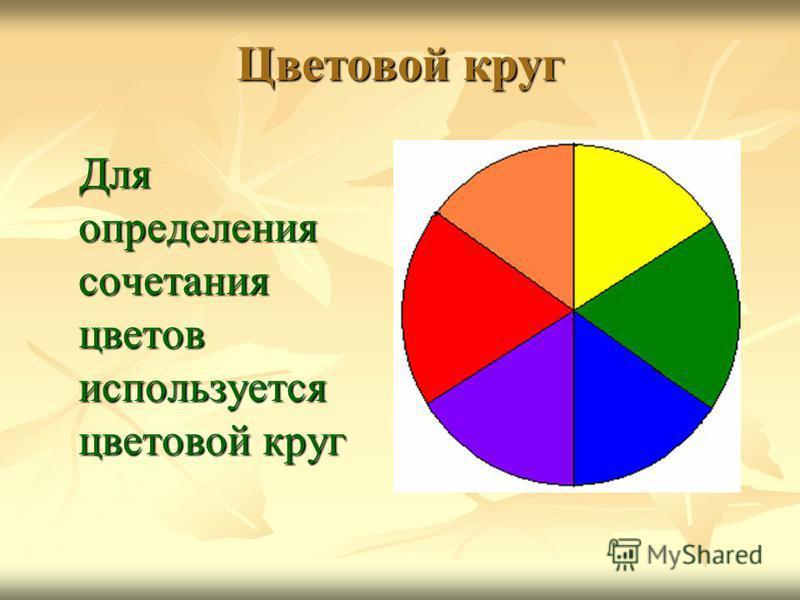 Цветовой круг Для определения сочетания цветов используется цветовой круг Для определения сочетания цветов используется цветовой круг