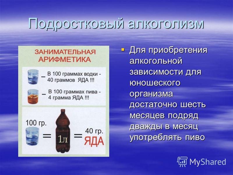Подростковый алкоголизм Для приобретения алкогольной зависимости для юношеского организма достаточно шесть месяцев подряд дважды в месяц употреблять пиво Для приобретения алкогольной зависимости для юношеского организма достаточно шесть месяцев подря