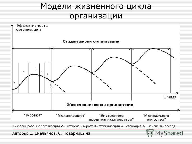 1 - формирование организации, 2 - интенсивный рост, 3 - стабилизация, 4 – стагнация, 5 – кризис, 6 - распад. Авторы: Е. Емельянов, С. Поварницына 6 5 1 2 3 4 Модели жизненного цикла организации