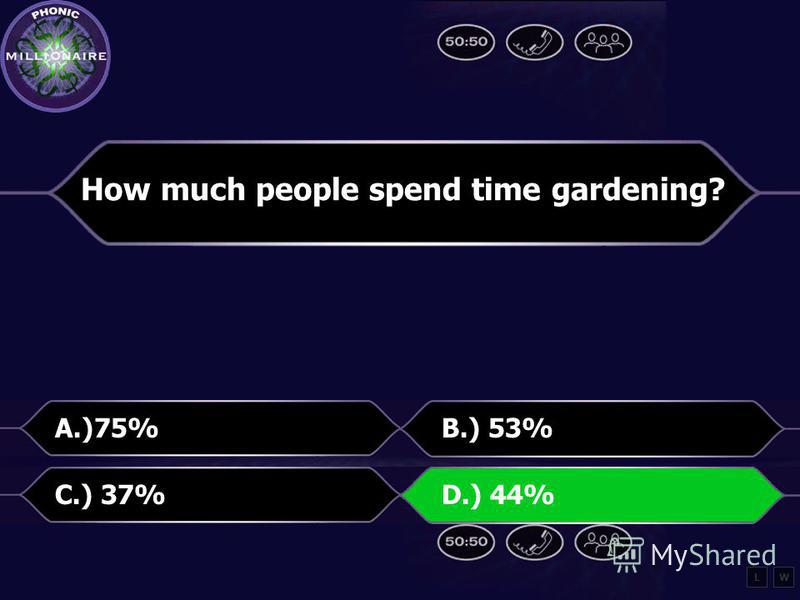 How much people spend time gardening? A.) 75%B.) 53% C.) 37%D.) 44% LW