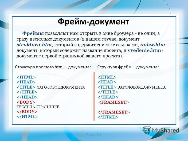 Фрейм-документ Пищита Е.В. Фреймы позволяют нам открыть в окне броузера - не один, а сразу несколько документов (в нашем случае, документ struktura.htm, который содержит список с ссылками, index.htm - документ, который содержит название проекта, и vv