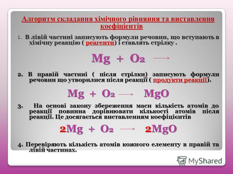 Алгоритм складання хімічного рівняння та виставлення коефіціентів В лівій частині записують формули речовин, що вступають в хімічну реакцію ( реагенти) і ставлять стрілку. 1. В лівій частині записують формули речовин, що вступають в хімічну реакцію (