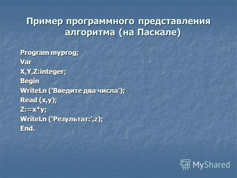 Пример программного представления алгоритма (на Паскале) Program myprog; VarX,Y,Z:integer;Begin WriteLn (Введите два числа); Read (x,y); Z:=x*y; WriteLn (Результат:,z); End.