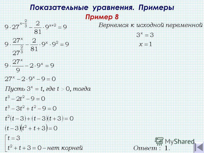 Показательные уравнения. Примеры Пример 8