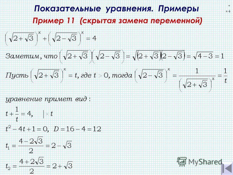 Показательные уравнения. Примеры Пример 11 (скрытая замена переменной) + = 4