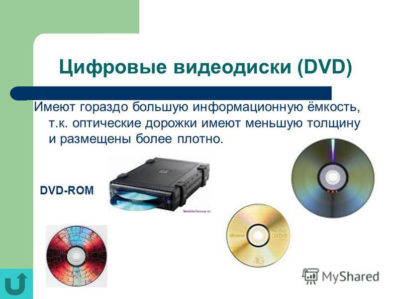 Цифровые видеодиски (DVD) Имеют гораздо большую информационную ёмкость, т.к. оптические дорожки имеют меньшую толщину и размещены более плотно. DVD-ROM