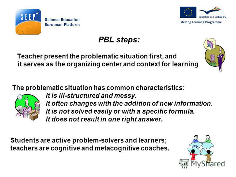 PBL steps: Teacher present the problematic situation first, and it serves as the organizing center and context for learning. The problematic situation has common characteristics: It is ill-structured and messy. It often changes with the addition of n