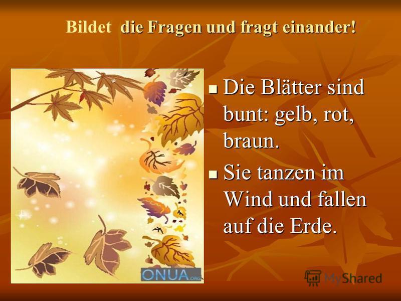 Die Blätter sind bunt: gelb, rot, braun. Die Blätter sind bunt: gelb, rot, braun. Sie tanzen im Wind und fallen auf die Erde. Sie tanzen im Wind und fallen auf die Erde. die Fragen und fragt einander! Bildet die Fragen und fragt einander!