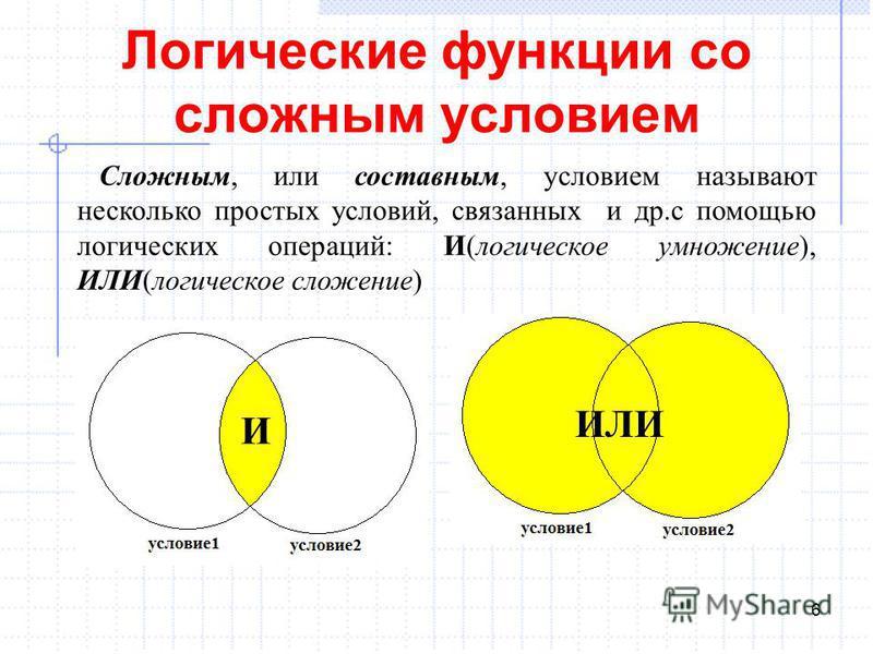 Логические функции со сложным условием 6 Сложным, или составным, условием называют несколько простых условий, связанных и др.с помощью логических операций: И(логическое умножение), ИЛИ(логическое сложение) И ИЛИ