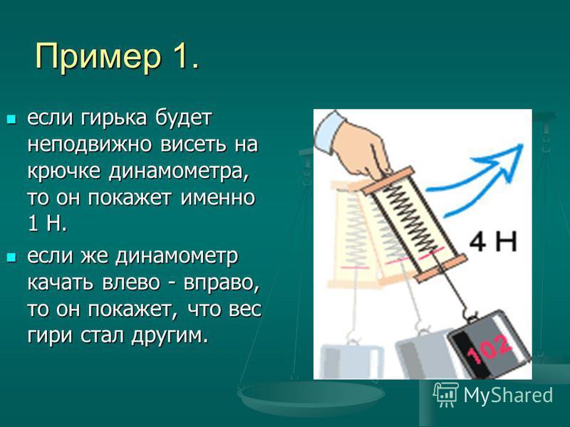 Пример 1. если гирька будет неподвижно висеть на крючке динамометра, то он покажет именно 1 Н. если гирька будет неподвижно висеть на крючке динамометра, то он покажет именно 1 Н. если же динамометр качать влево - вправо, то он покажет, что вес гири
