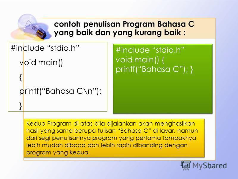 contoh penulisan Program Bahasa C yang baik dan yang kurang baik : #include stdio.h void main() { printf(Bahasa C\n); } 12 #include stdio.h void main() { printf(Bahasa C); } #include stdio.h void main() { printf(Bahasa C); } Kedua Program di atas bil