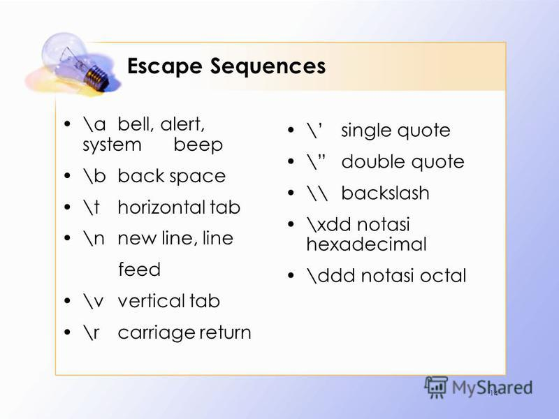 Escape Sequences \abell, alert, system beep \b back space \thorizontal tab \nnew line, line feed \v vertical tab \rcarriage return \single quote \double quote \\backslash \xdd notasi hexadecimal \ddd notasi octal 14