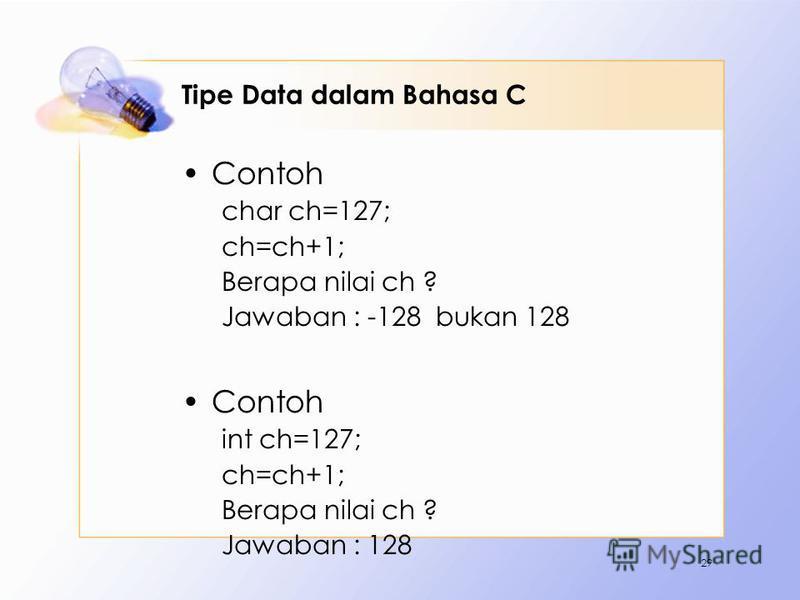 Tipe Data dalam Bahasa C Contoh char ch=127; ch=ch+1; Berapa nilai ch ? Jawaban : -128 bukan 128 Contoh int ch=127; ch=ch+1; Berapa nilai ch ? Jawaban : 128 29